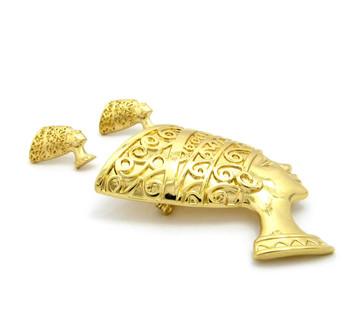 Queen Nefertiti 14k Gold Egyptian African Brooch Pin Earrings Set