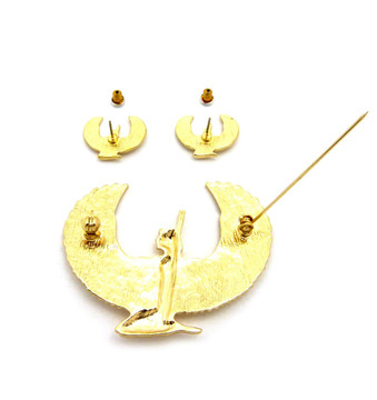 MAAT 14k Gold Ancient Egyptian African Brooch Pin Earrings Set