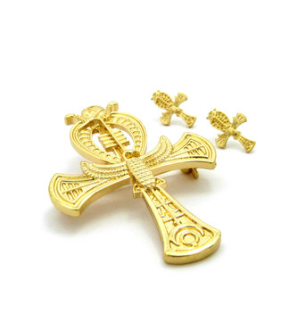 Ankh Cross 14k Gold Egyptian African Brooch Pin Earrings Set
