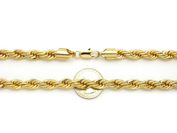 14k Gold 8mm Rope Link Hip Hop Chain Necklace