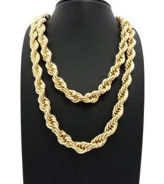 14k Gold Mens Hip Hop 10mm Rope Chain Necklace Set