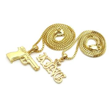 14k Gold Hip Hop King 9mm Beretta Pendant Chain