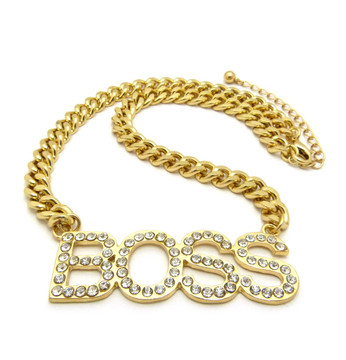 Ladies Simulated Diamond Bling Boss Iced Out Pendant