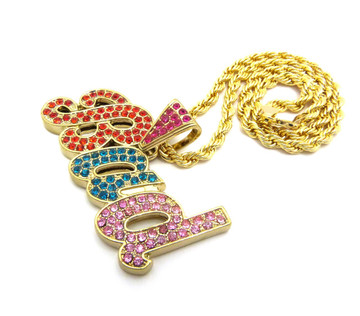 14k Gold Ladies Multi Colored Iced Out BAD Diamond Cz Pendant