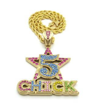 14k Gold 5 Star Chick Hip Hop Simulated Diamond Pendant