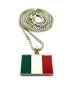.925 Silver Italy Italian Flag Pendant Box Chain