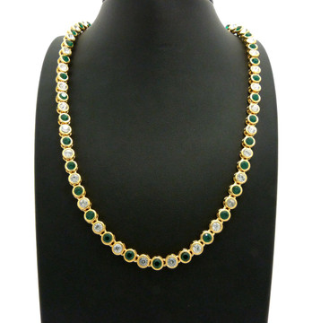 14k Gold Ballers Iced Green Stone Chain 6mm 22 Inch