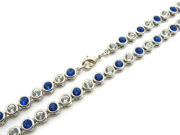 14k Gold Ballers Iced Blue Stone Chain 6mm 22 Inch