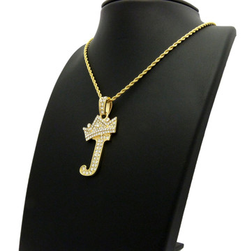 14k Gold GP Crowned Initial J Simulated Diamond Chain Pendant