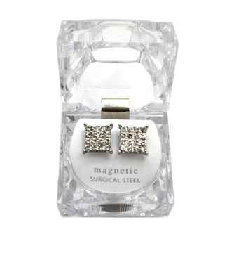 Iced Out Magnetized 4 Corners .925 Silver SP Earrings