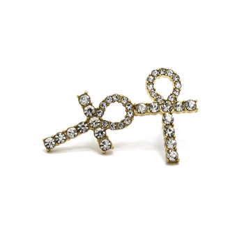 14k Gold GP African Ankh Diamond Cz Earrings