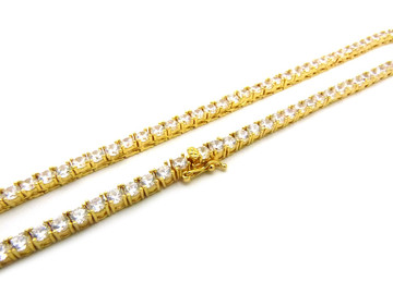 14k Gold Simulated Diamond 4mm Stone Chain Necklace