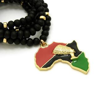 14k Gold GP Mother Africa Supremacy Of God Symbol Pendant
