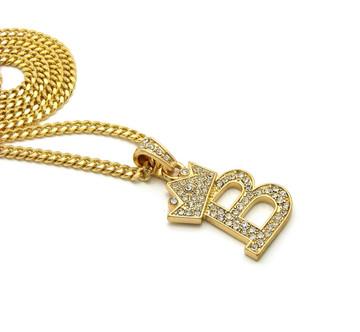 14k Gold GP Crowned Initial B Simulated Diamond Chain Pendant
