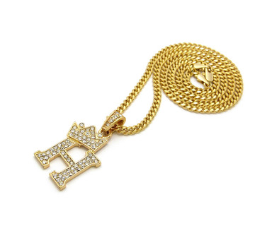 14k Gold GP Crowned Initial H Simulated Diamond Chain Pendant