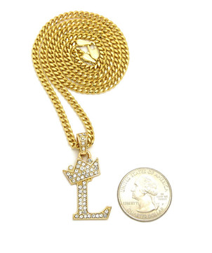 14k Gold GP Crowned Initial L Simulated Diamond Chain Pendant
