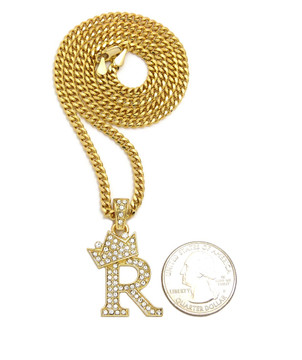 14k Gold GP Crowned Initial R Simulated Diamond Chain Pendant