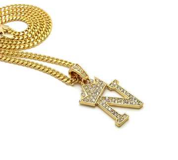 14k Gold GP Crowned Initial N Simulated Diamond Chain Pendant