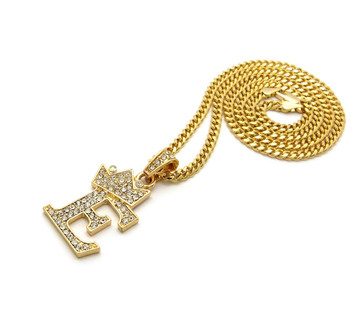 14k Gold GP Crowned Initial E Simulated Diamond Chain Pendant