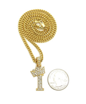 14k Gold GP Crowned Initial I Simulated Diamond Chain Pendant