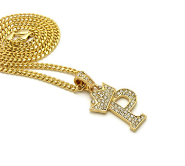 14k Gold GP Crowned Initial P Simulated Diamond Chain Pendant