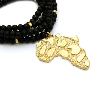 Ancient African Continent Pendant Black Colored Beaded Chain