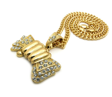 14k Gold Old School Hip Hop Money Fist Pendant