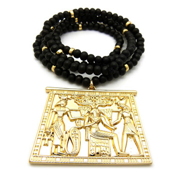 14k Gold God Of Egypt Medallion Beaded Chain Necklace