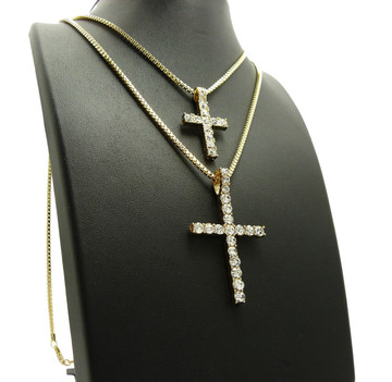 14k Gold Large Double Simulated Diamond Cross Hip Hop Pendant