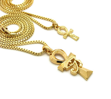 14k Gold Small Double Ankh Cross Eye of Heru Pendant Chain Set