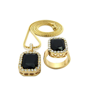 Simulated Diamond Black Onyx Pink Ring Gemstone Pendant Set