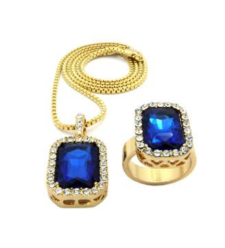 Simulated Diamond Blue Onyx Pink Ring Gemstone Pendant Set