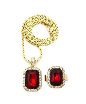 Simulated Diamond Red Onyx Pink Ring Gemstone Pendant Set