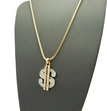 Hip Hop Cash Money Dollar Sign Two Tone Bling Pendant