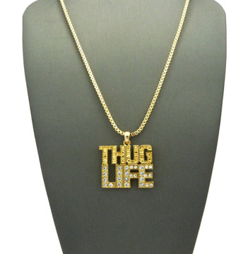 14k 2Pac Inspired Gold Thug Life Diamond CZ Hip Hop Pendant Chain