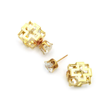 8mm Simulated Diamond 14mm Square Filigree Box Bling Earrings