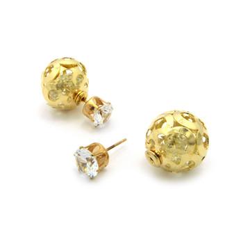 Ladies 8mm Simulated Diamond 18mm Filigree Bling Earrings
