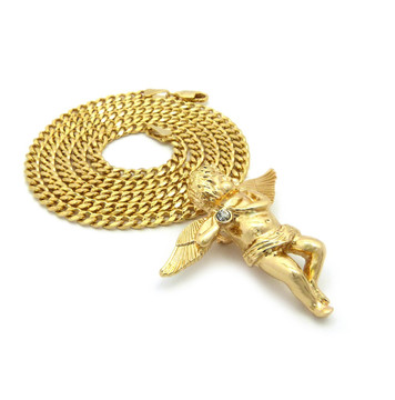 14k Gold Simulated Diamond Angel Cherub Pendant Concave Cuban Chain