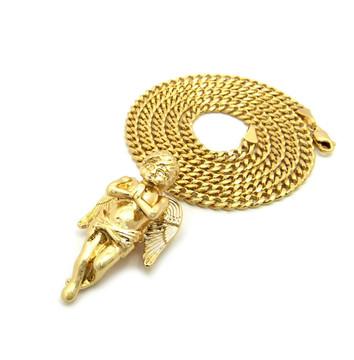 14k Gold Diamond Cz Angel Praying Pendant Concave Cuban Chain