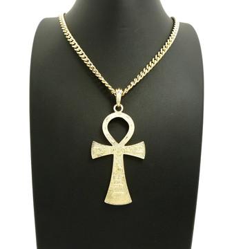 14k Gold Textured Hieroglyphics Ankh Cross Pendant Chain