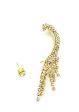 "8mm Rhinestone Stud 3.75"" Earring Clip On Rhinestone Ear Cuff"