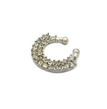 Round Ridge Horseshoe Studded Diamond Cz Nose Ring