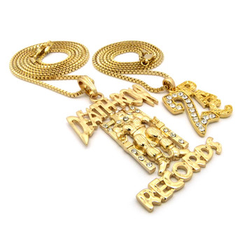 14k Gold 2Pac Deathrow Inspired Hip Hop Pendant Chain Set