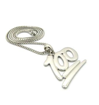 Hip Hop Keep it 100 Emoji Pendant Chain Necklace