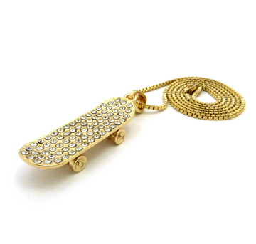 Iced Out Diamond Cz Skateboard Pendant Chain Necklace