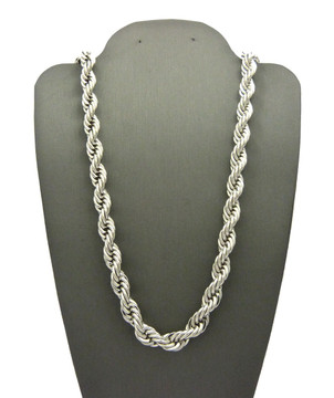 .925 Rhodium Silver 8mm 30 Inch Rope Chain Necklace
