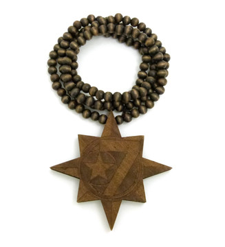 Brown Wood Wooden 7 Star Hip Hop Pendant Chain Necklace