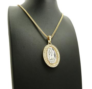 14k Gold Virgin Mary Simulated Diamond Stone Pendant Chain