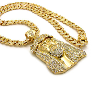14k Gold All Ice Ancient Jesus Piece Iced Out Cuban Link Pendant