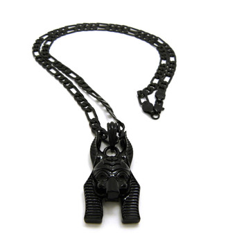 Black Charcoal Anpu Anubis Egyptian African Pendant